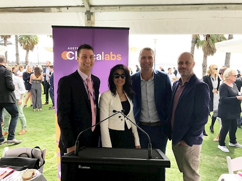 Our team who represented Australian Clinical Labs: on the left is Darren Mckee (Victorian Sales Manager), Dr Mirette Saad (Chemical Pathologist), Clinton Wells (Lab Manager) and Kyle Jackson (Geelong Laboratory Manager)